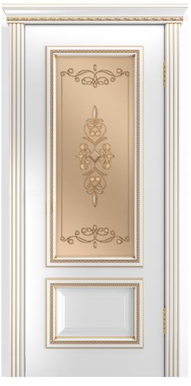 Двери Лайндор Виолетта-Д эмаль белая золотая стекло Эрика
