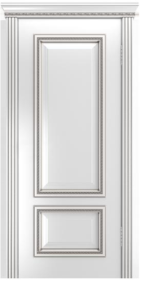 Двери Лайндор Виолетта-Д эмаль белая серебряная патина карниз