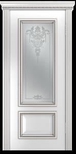 Двери Лайндор Виолетта-Д эмаль белая серебряная стекло Версаль