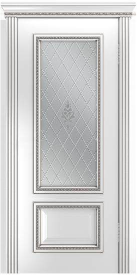 Двери Лайндор Виолетта-Д эмаль белая серебряная стекло Лилия