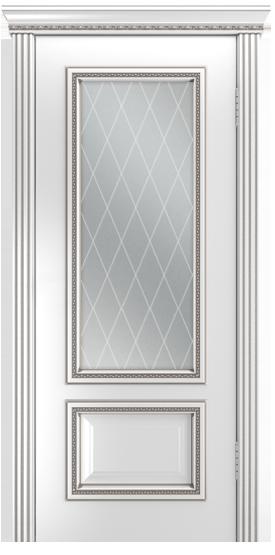Двери Лайндор Виолетта-Д эмаль белая серебряная стекло Лондон