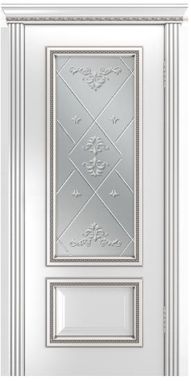 Двери Лайндор Виолетта-Д эмаль белая серебряная стекло Прима