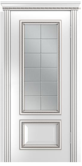 Двери Лайндор Виолетта-Д эмаль белая серебряная стекло Решетка