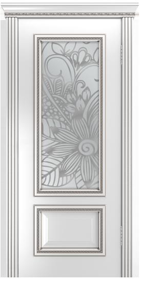 Двери Лайндор Виолетта-Д эмаль белая серебряная стекло Соната
