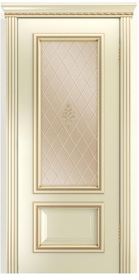 Двери Лайндор Виолетта-Д эмаль бисквит золотая патина стекло Лилия бронза