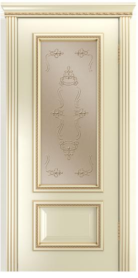 Двери Лайндор Виолетта-Д эмаль бисквит золотая патина стекло Пальмира бронза