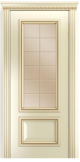 Двери Лайндор Виолетта-Д эмаль бисквит золотая патина стекло Решетка бронза