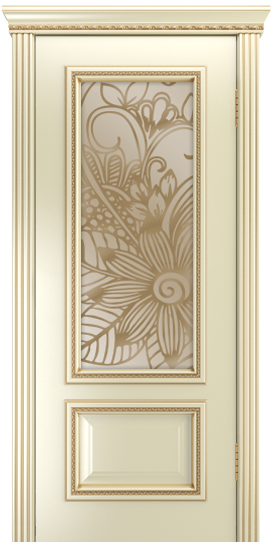 Двери Лайндор Виолетта-Д эмаль бисквит золотая патина стекло Соната бронза