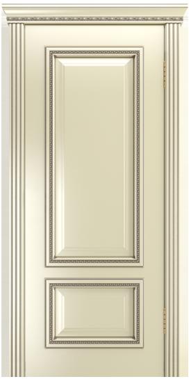 Двери Лайндор Виолетта-Д эмаль бисквит серебряная патина карниз