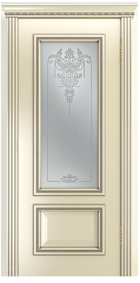 Двери Лайндор Виолетта-Д эмаль бисквит серебряная стекло Версаль