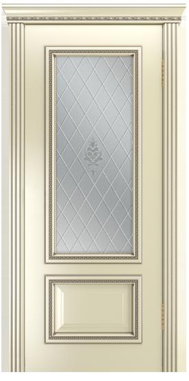 Двери Лайндор Виолетта-Д эмаль бисквит серебряная стекло Лилия