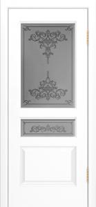 Двери Лайндор Калина К эмаль белая стекло Лира рис темный