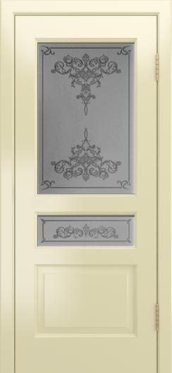 Двери Лайндор Калина К эмаль бесквит стекло Лира рис темный