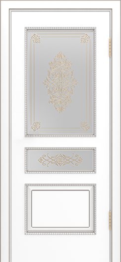 Двери Лайндор Калина П эмаль белая стекло Дамаск