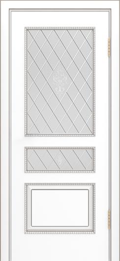 Двери Лайндор Калина П эмаль белая стекло Лилия-СТ
