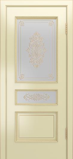Двери Лайндор Калина П эмаль бесквит стекло Дамаск