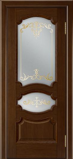 Дверь Лайндор Марта тон 2 стекло Элегия светлое наливка золото