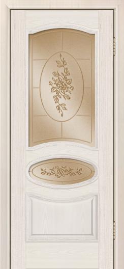 Дверь Лайндор Оливия Л тон 27 стекло 3Д Роза бронза