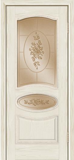 Дверь Лайндор Оливия Л тон 34 стекло 3Д Роза бронза