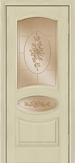 Дверь Лайндор Оливия Л тон 36 стекло 3Д Роза бронза