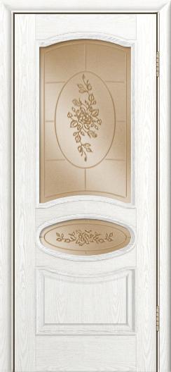 Дверь Лайндор Оливия Л тон 38 стекло 3Д Роза бронза