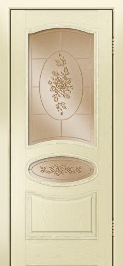 Дверь Лайндор Оливия Л тон 42 стекло 3Д Роза бронза