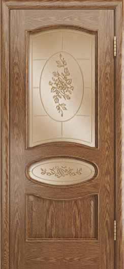 Дверь Лайндор Оливия Л тон 45 стекло 3Д Роза бронза