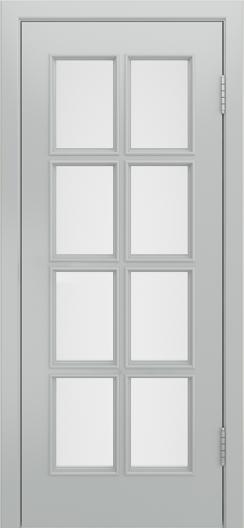 Двери Лайндор Аврора К эмаль серая стекло белое