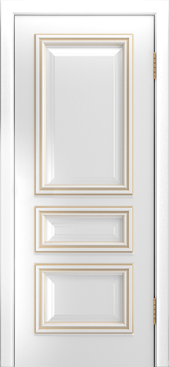 Двери Лайндор Агата Д эмаль белая патина золото