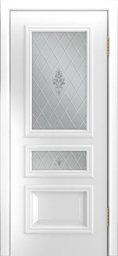 Двери Лайндор Агата Д эмаль белая стекло Лилия светлое