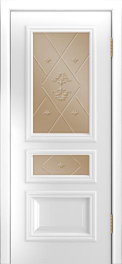 Двери Лайндор Агата Д эмаль белая стекло Прима бронза