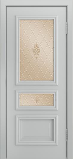 Двери Лайндор Агата Д эмаль серая стекло Лилия бронза