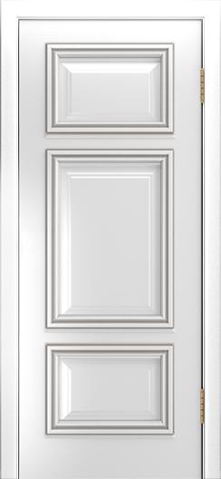 Двери Лайндор Афина Д эмаль белая патина серебро