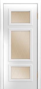 Двери Лайндор Афина Д эмаль белая стекло Лондон бронза