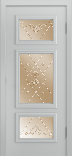Двери Лайндор Афина Д эмаль серая стекло Прима бронза