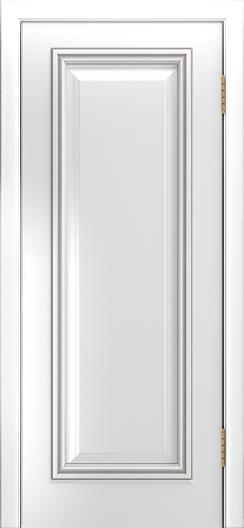 Двери Лайндор Валенсия Д эмаль белая патина серебро
