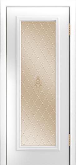 Двери Лайндор Валенсия Д эмаль белая стекло Лилия бронза