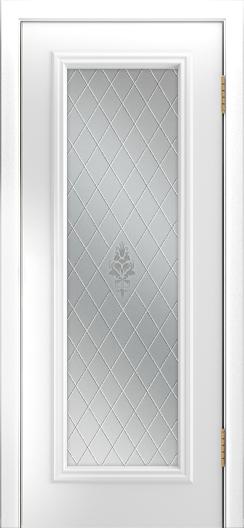 Двери Лайндор Валенсия Д эмаль белая стекло Лилия светлое