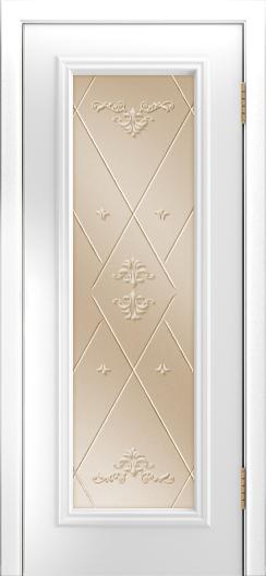 Двери Лайндор Валенсия Д эмаль белая стекло Прима бронза