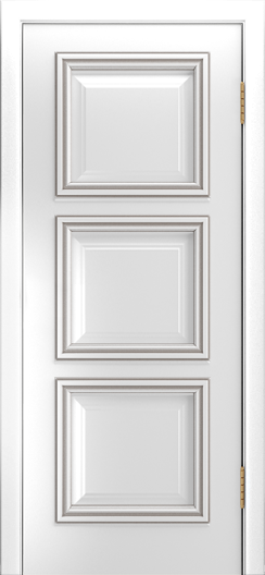 Двери Лайндор Грация Д эмаль белая патина серебро