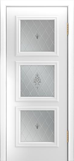 Двери Лайндор Грация Д эмаль белая стекло Лилия светлое