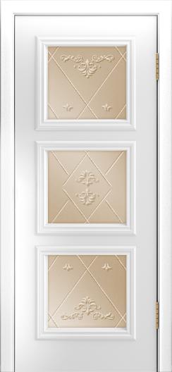 Двери Лайндор Грация Д эмаль белая стекло Прима бронза