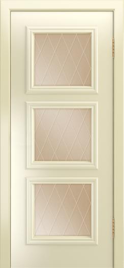 Двери Лайндор Грация Д эмаль бисквит стекло Лондон бронза
