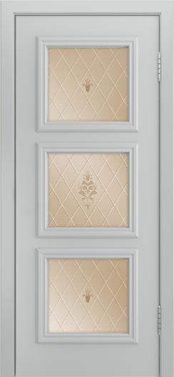 Двери Лайндор Грация Д эмаль серая стекло Лилия бронза