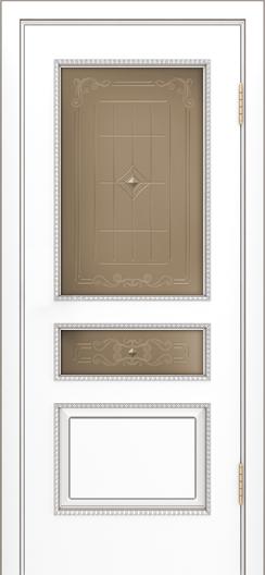 Двери Лайндор Калина П эмаль белая стекло Калина бронза