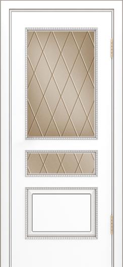 Двери Лайндор Калина П эмаль белая стекло Лондон бронза
