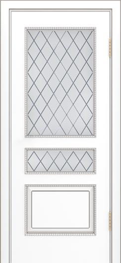 Двери Лайндор Калина П эмаль белая стекло Милтон