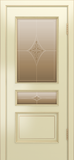 Двери Лайндор Калина П эмаль бисквит стекло Гелиос бронза