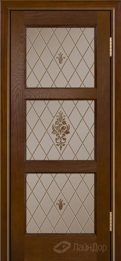 Двери ЛайнДор Грация К тон 30 стекло Лилия бронза