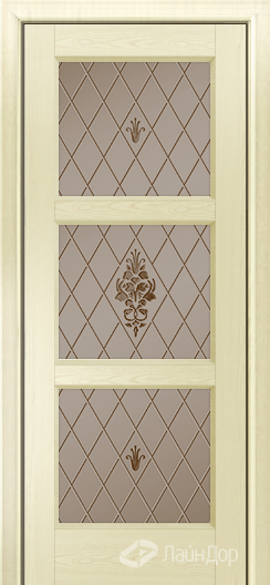 Двери ЛайнДор Грация К тон 42 стекло Лилия бронза